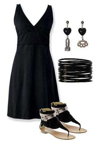 Accesorios para vestido negro dia