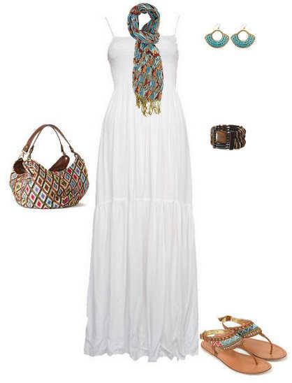 Complementos para un vestido blanco largo