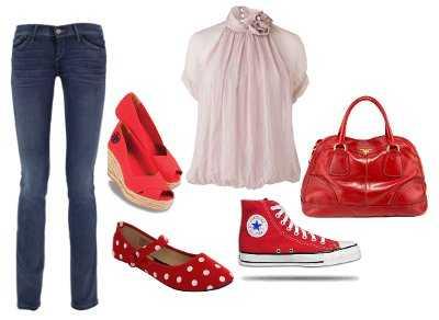Ropa casual con zapatos rojos