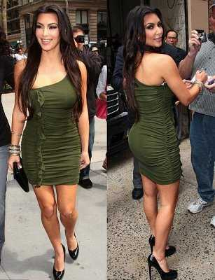 Para las más atrevidas: vestido de lycra verde militar