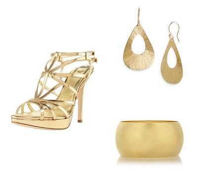 Sandalias doradas para vestidos de fiesta