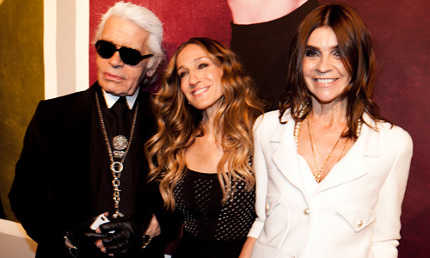 Karl Laferged, Sarah Jessica Parker y Carine Roitfeld